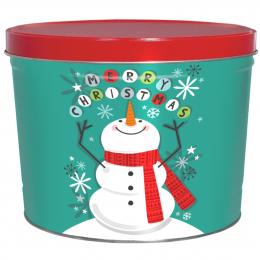 Cheery Snowman 2 Gallon Popcorn Tin